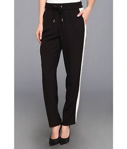 Juicy Couture Women's Pull On Crepe Track Pant, Pitch Black, Large