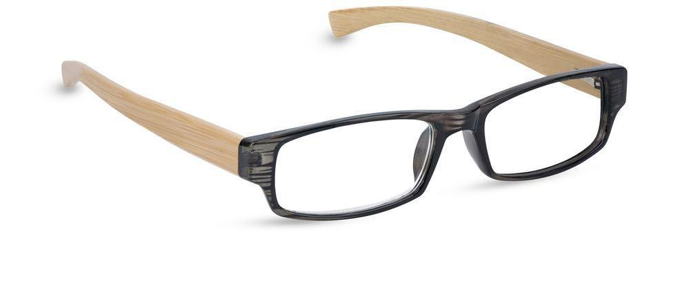 Peepers Men's Visionary Rectangular Reading Glasses,Black/Bamboo,+1.25