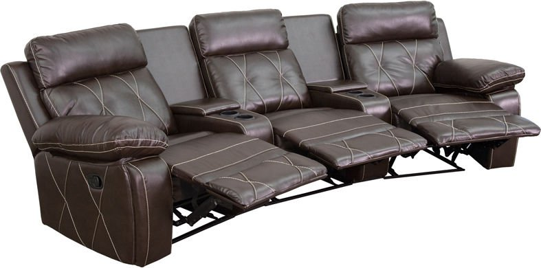 3-Seat Reclining Brown Leathersoft Curved Theater Seating Unit w/Cup Holders
