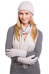 Fishers Finery 100 % Pure Cashmere Hat, Gloves, Scarf Gift Set w/ Gift Box-Stone