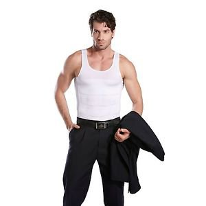 HOTER Mens Slimming Body Shaper Vest Shirt Abs Abdomen Slim, White