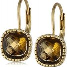 The SAK 8mm Cushion Leverback Topaz Drop Earrings