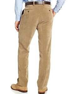 Louis Raphael Men's Flat Front Modern Fit 11 Wale Corduroy Dress Pant, Tan 40x30