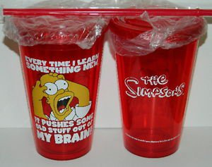 The Simpsons Homer MY BRAIN Panic Red 16 oz Acrylic Travel Cup