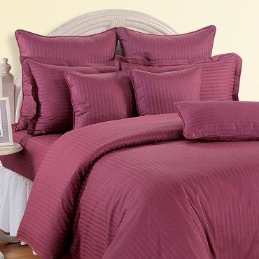 1000 TC EGYPTIAN COTTON  RASPBERRY STRIPED DOUBLE BED SHEET SET