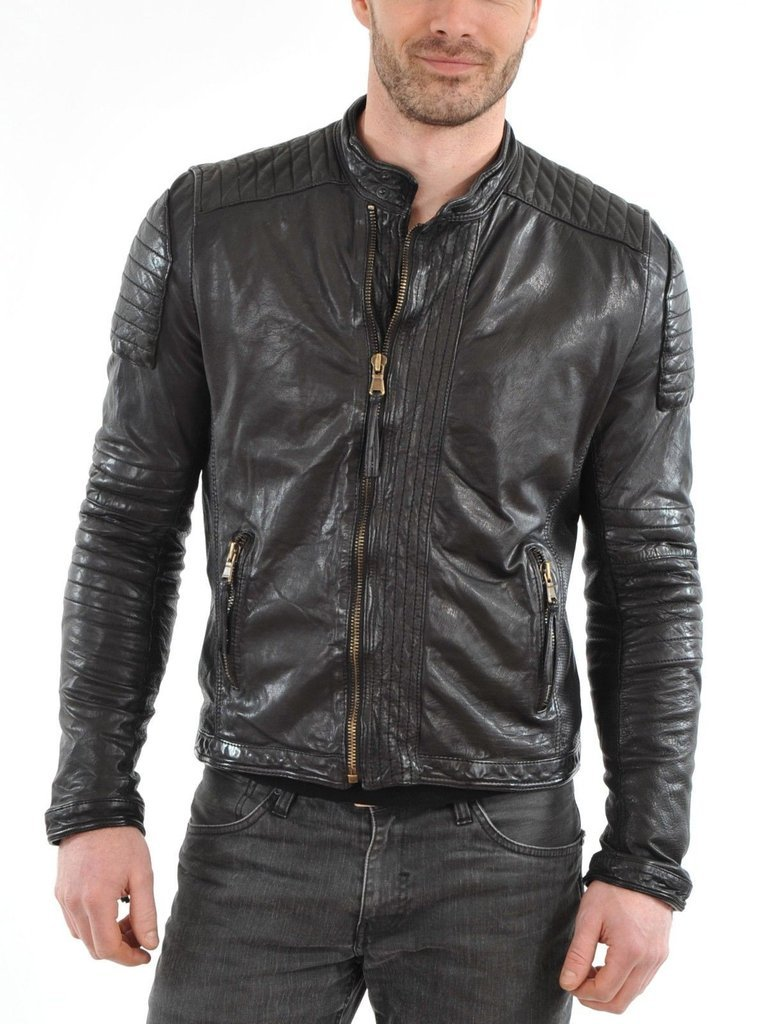 leather jacket motorcycle mens real lambskin black biker slim fit S M L BJ1001