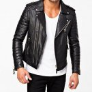 leather jacket motorcycle mens real lambskin black biker slim fit S M L BJ1003