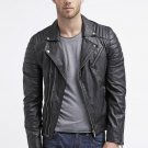 leather jacket motorcycle mens real lambskin black biker slim fit S M L BJ1004