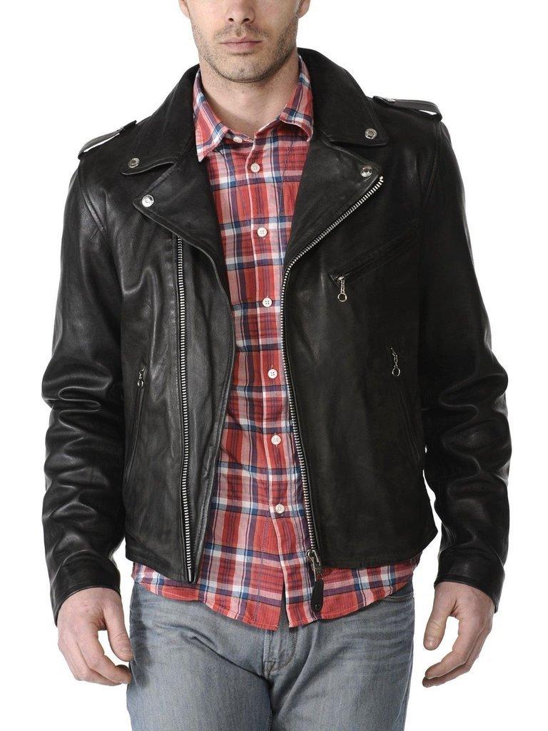 leather jacket motorcycle mens real lambskin black biker slim fit S M L BJ1005