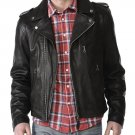 leather jacket motorcycle mens real lambskin black biker slim fit S M L BJ1005