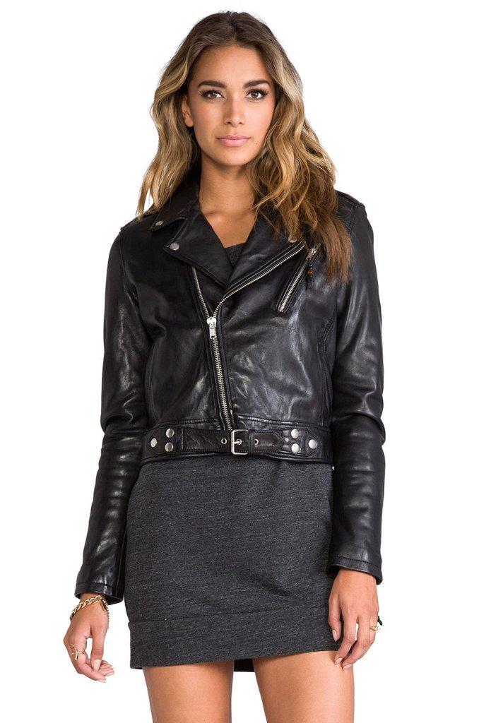 leather jacket motorcycle womans real lambskin black biker slimfit S M L BJ1006