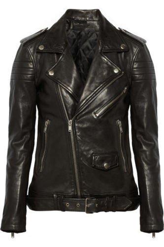 leather jacket motorcycle womans real lambskin black biker slimfit S M L BJ1007
