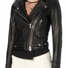 leather jacket motorcycle womans real lambskin black biker slimfit S M L BJ1008