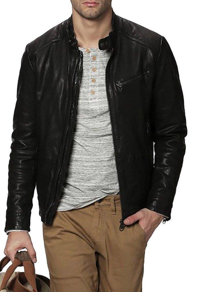 leather jacket motorcycle mens real lambskin black biker slim fit S M L BJ1011