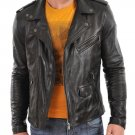 leather jacket motorcycle mens real lambskin black biker slim fit S M L BJ1013