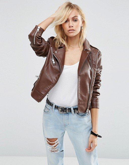 leather jacket motorcycle womans real lambskin black biker slimfit S M L BJ1014