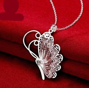 NEW! 925 Sterling Silver Fashion Jewelry 3D Butterfly Pendant with Necklace.