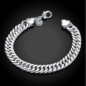 925 Sterling Silver Fashion Man Jewelry Chain bracelet 10 mm.