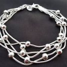 925 Sterling Silver Fashion Jewelry Chain Bracelet with Balls 8 in.