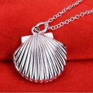 925 Sterling Silver Fashion Jewelry Sea Shell Opens & Lock Pendant & Necklace.