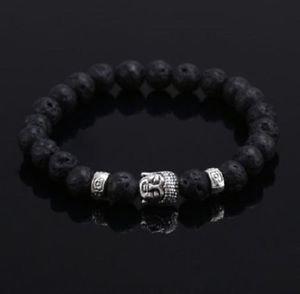 Natural Stone Black Lava Silver Buddha Good Luck Bracelet For Women and Men.