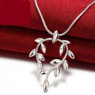 925 Sterling Silver Fashion Jewelry  Leaf of Peace Pendant with Necklace.
