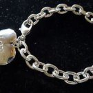 925 Sterling Silver Fashion Jewelry Open Locked Heart Charm Bracelet .