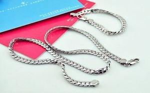 925 Sterling Silver Fashion Jewelry Set Curb Chain 5 mm &  Curb Bracelet 5mm.
