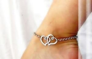 Silver Foot Jewelry Anklet Two Hearts 8,5 in +2 in (extra).