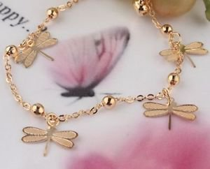 Foot Fashion Jewelry 18k Gold Plated Dragonfly Anklet .
