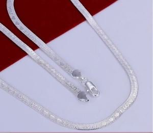 925 Sterling Silver Fashion Jewelry Necklace Engraved  I LOVE YOU,4 mm.