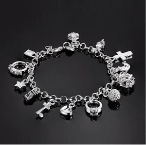 925 Sterling Silver Jewelry Charm Bracelet with Charm Pendants.