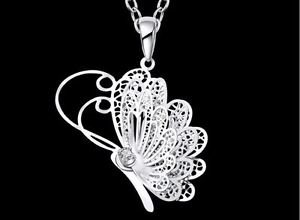 925 Sterling Silver Fashion Jewelry 3D Butterfly Pendant with Necklace.