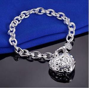 925 Sterling Silver Fashion Jewelry Stereo Heart Bracelet 8 in.
