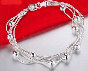 925 Sterling Silver Fashion Jewelry Elegant Chain Bracelet with Balls.