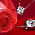 925 Silver Jewelry Heart Pendant & Crystal & Chain 18,20,22 in.