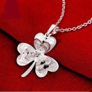 925 Sterling Silver Fashion Jewelry Clover Pendant with Necklace.