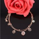 Fashion Charm Foot Jewelry Anklet Roses with crystal, 18k Gold Plated.