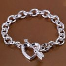 925 Sterling Silver Fashion Jewelry Bracelet Arrow through Heart .