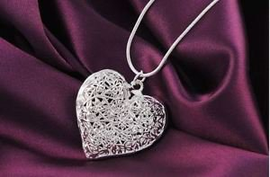 925 Sterling Silver Fashion Jewelry Stereo Heart Pendant & Necklace 18,20,22 in.