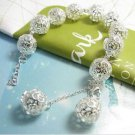 925 Sterling Silver Fashion Jewelry Bracelet Stereo Balls, 8 in+2 in (extra).