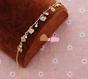 Foot Jewelry Fashion Women 18k Gold Plated Hearts Anklet & Crystals.