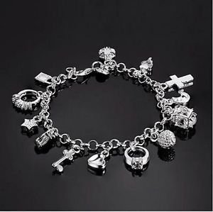 Beautiful 925 Stamped Silver Jewelry Charm Bracelet with Multiple pendants