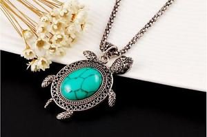 Vintage Silver Tone Jewelry  Turquoise Turtle Necklace.