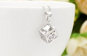 925 Sterling Silver Jewelry Pendant Love Magic Window & Crystal & Necklace.