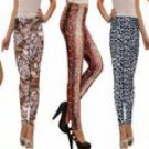Silky Slim Down Style Leggings - Shiny Embellished, Animal Print, Large