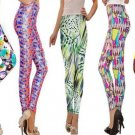 Silky Slim Down Style Leggings - Shiny Embellished, Funky Print, Green. Large