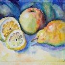 Original watercolor painting fruit still life Lemon apple pear colorful kitchen wall art