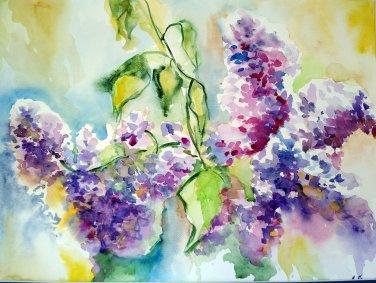 Original watercolor painting, Lilac flowers, botanical art, artwork, floral wall art, wall decor