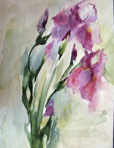 Original watercolor painting, abstract flowers, floral wall art Iris, blooms, wall decor